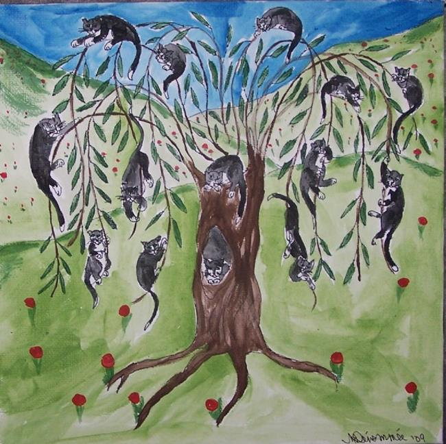 Art: Pussy Willow original Folk Art painting by Artist Nancy Denommee
