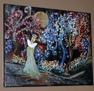 Detail Image for art FLOWERS, TREES, ANGEL, EDEN GARDEN-sold