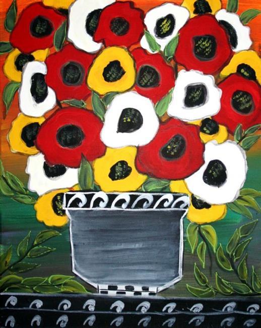 Art: RED WHITE YELLOW POPPIES-sold by Artist LUIZA VIZOLI