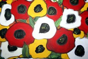 Detail Image for art RED WHITE YELLOW POPPIES-sold