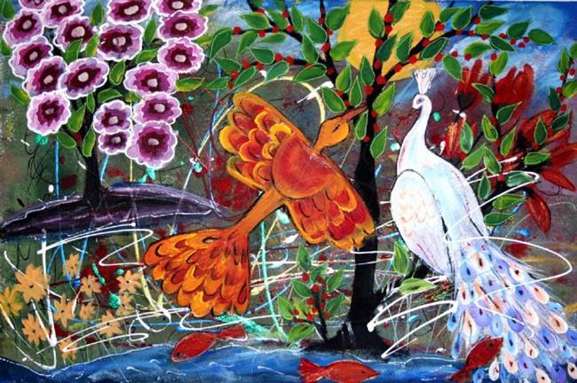 Art: PHOENIX BIRD, WHITE PEACOCK ,FLOWERS, TREES-sold by Artist LUIZA VIZOLI