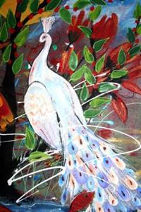 Detail Image for art PHOENIX BIRD, WHITE PEACOCK ,FLOWERS, TREES-sold