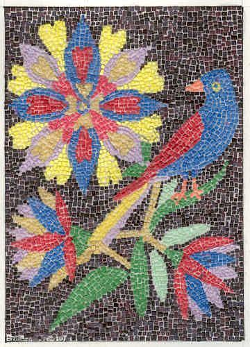 Art: FRAKTUR WITH BIRD AND FLOWERS by Artist Theodora Demetriades