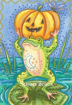 Art: FROG ON PUMPKIN POND by Artist Susan Brack