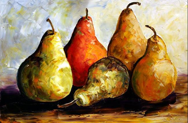 Art: Five Pears Study No.1 by Artist Laurie Justus Pace