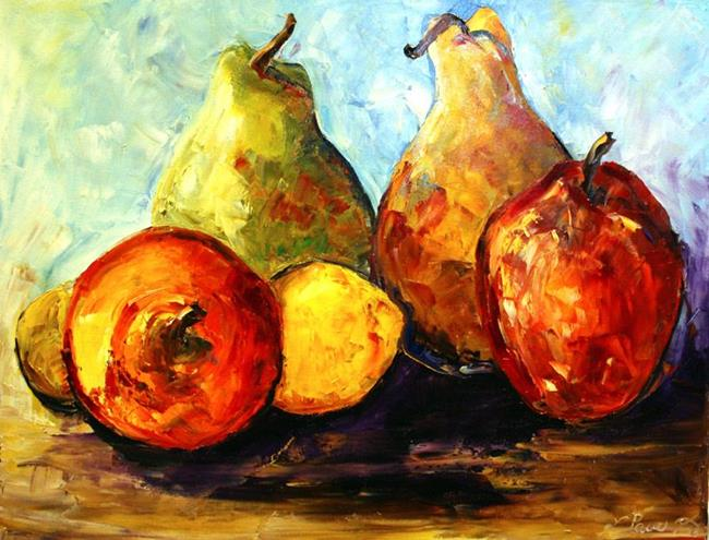 Art: Four Pear and Two Lemons by Artist Laurie Justus Pace