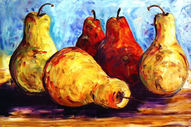 Art: Five Pears Two are Red by Artist Laurie Justus Pace