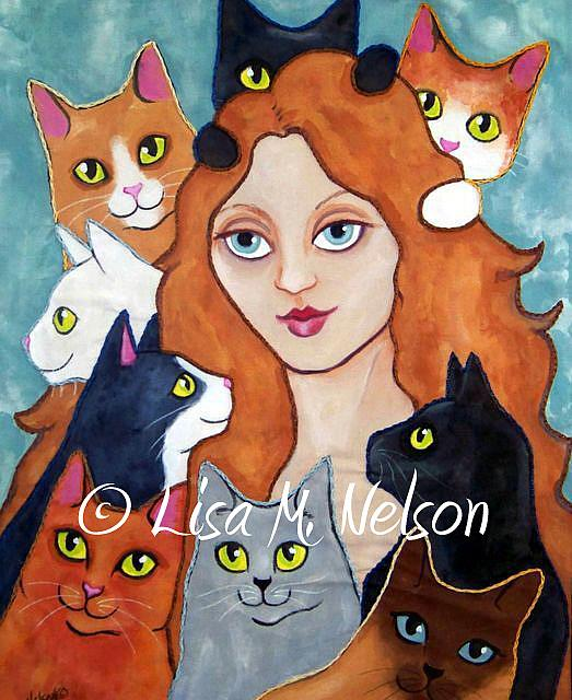 Cat lady art quilt by lisa m nelson from fabric art and for Crazy mural lady