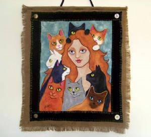 Detail Image for art Cat Lady Art Quilt