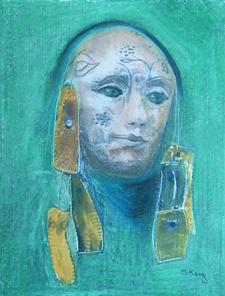 Art: Tribal Mask-Sold by Artist Sherry Key