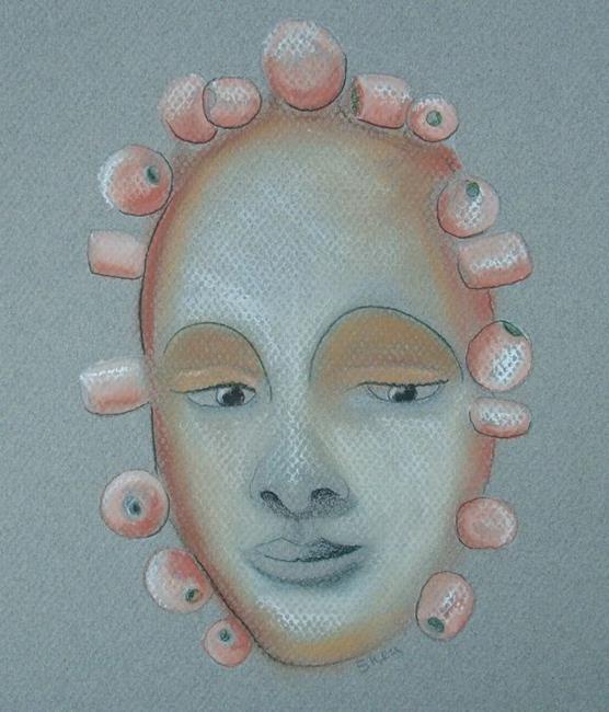 Art: Grey Mood, Grey Face, On Grey Paper by Artist Sherry Key
