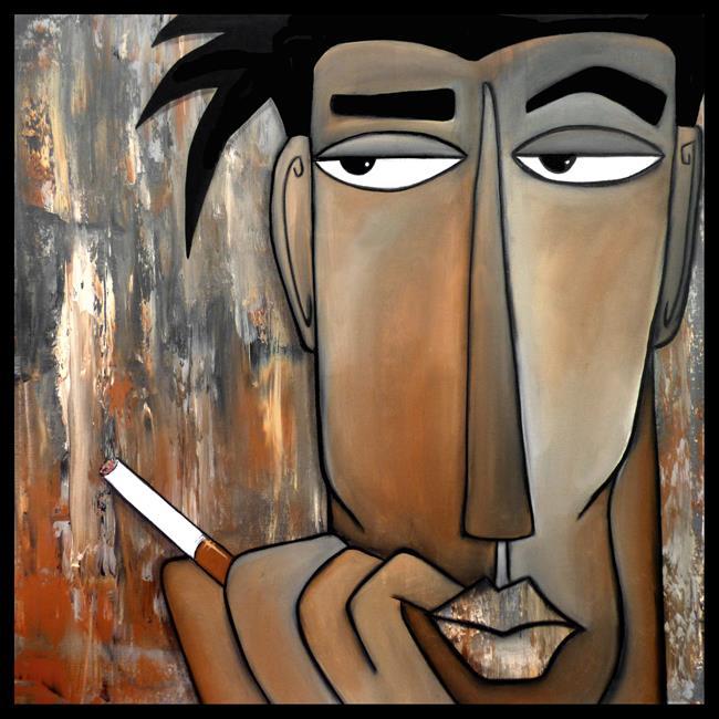 Art: Original Abstract Art Painting Think Again by Artist Thomas C. Fedro