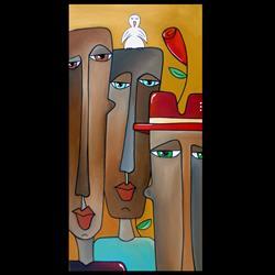 Art: Original Abstract Art Painting A Bird On The Head by Artist Thomas C. Fedro