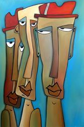 Art: Original Abstract Art Painting Entourage by Artist Thomas C. Fedro