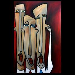 Art: Original Abstract Art Painting Listen Up by Artist Thomas C. Fedro