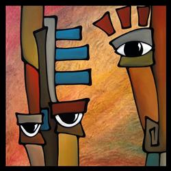 Art: Faces1134 3030 Original Abstract Art Painting Startled by Artist Thomas C. Fedro
