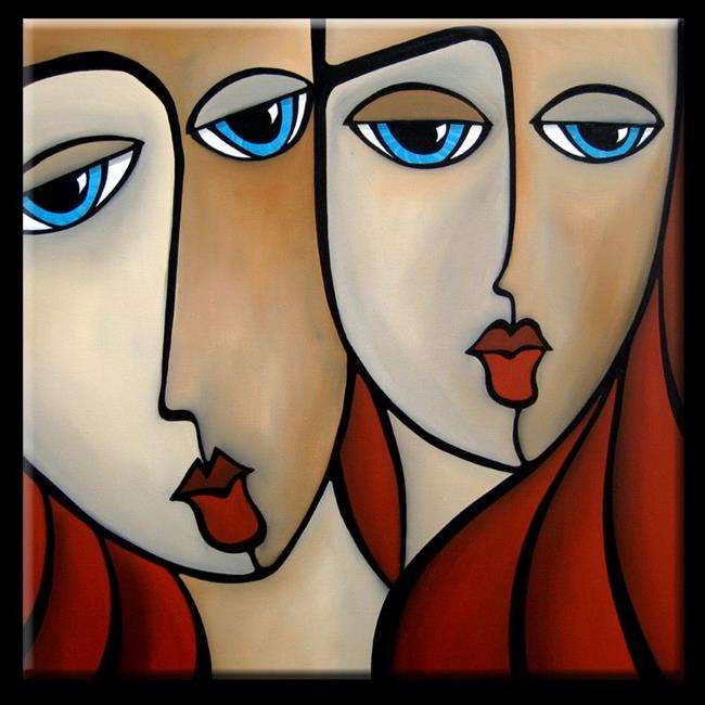 Art: Faces1139 3030 Original Abstract Art Painting In Retrospect by Artist Thomas C. Fedro