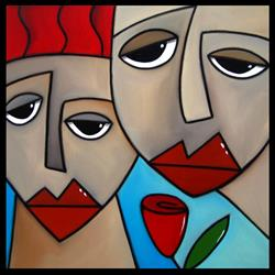 Art: Faces1147 1818 Original Abstract Art Painting Somehow by Artist Thomas C. Fedro