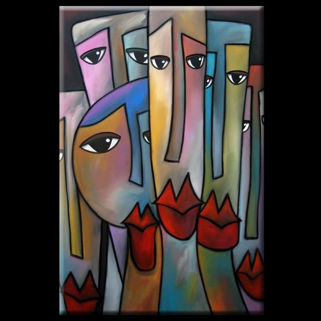 Art: Faces1149 2436 Original Abstract Art Painting Feel So Close by Artist Thomas C. Fedro