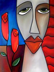 Art: Faces1164 3040 W Original Abstract Art Painting Here To Stay by Artist Thomas C. Fedro