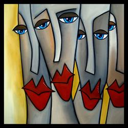 Art: Faces1167 2424 Original Abstract Art Painting Step Aside by Artist Thomas C. Fedro