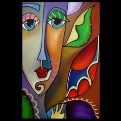 Art: Faces1174 2436 Original Abstract Art Painting Discovery by Artist Thomas C. Fedro