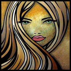 Art: Faces1175 2424 Original Abstract Art Painting Where Have You Been by Artist Thomas C. Fedro