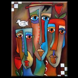 Art: Faces1178 3040 Original Abstract Art Painting This Moment by Artist Thomas C. Fedro