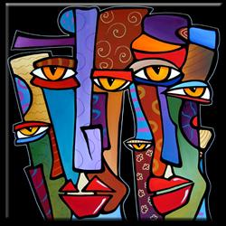 Art: Faces1186 3030 Original Abstract Art Painting Pop Design Stars by Artist Thomas C. Fedro