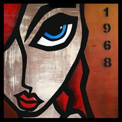 Art: Faces1189 2424 W Original Abstract Art Painting 1968 by Artist Thomas C. Fedro