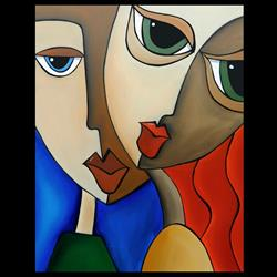 Art: Faces1192 2228 Original Abstract Art Painting Notice Me by Artist Thomas C. Fedro