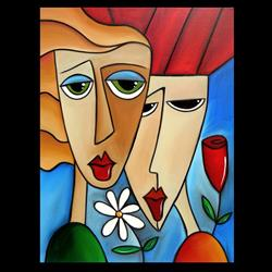 Art: Faces1194 2228 Original Abstract Art Painting While Were Young by Artist Thomas C. Fedro