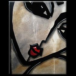 Art: Faces1196 2228 Original Abstract Art Painting Etched In Stone by Artist Thomas C. Fedro