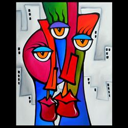 Art: Faces1200 2228 Original Abstract Art Painting Shared by Artist Thomas C. Fedro