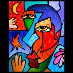 Art: Faces1201 2228 Original Abstract Art Painting High Time by Artist Thomas C. Fedro