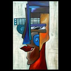 Art: Faces1202 2436 Original Abstract Art Painting Shifty by Artist Thomas C. Fedro