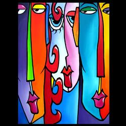 Art: Faces1203 3040 G Original Abstract Art Painting Adams and Eve by Artist Thomas C. Fedro