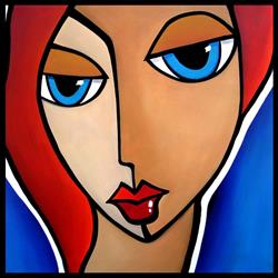 Art: Faces1205 2424 Original Abstract Art Painting Mama Said by Artist Thomas C. Fedro
