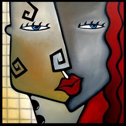 Art: Faces1208 2424 Original Abstract Art Painting Checkered Past by Artist Thomas C. Fedro