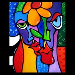 Art: Faces1209 2430 Original Abstract Art Painting Open Up by Artist Thomas C. Fedro
