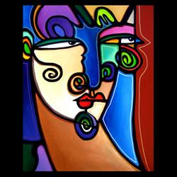 Art: Faces1211 2430 Original Abstract Art Painting Snapchat by Artist Thomas C. Fedro
