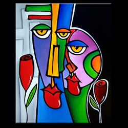 Art: Faces1210 2430 Original Abstract Art Painting Night and Day by Artist Thomas C. Fedro