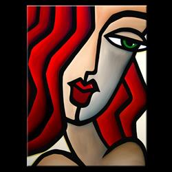 Art: Faces1220 3040 GW Original Abstract Art Painting Last Glance by Artist Thomas C. Fedro