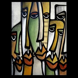 Art: Faces1221 2430 GW Original Abstract Art Painting Good Guys by Artist Thomas C. Fedro