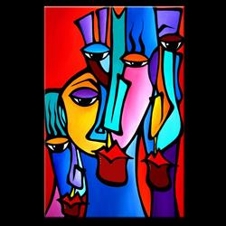 Art: Faces1222 2436 GW Original Abstract Art Painting Crazy Loco by Artist Thomas C. Fedro