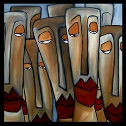 Art: Faces1223 2424 GW Original Abstract Art Painting Trouble Brewing by Artist Thomas C. Fedro