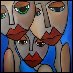 Art: Faces1226 2424 GW Original Abstract Art Painting We're Fine by Artist Thomas C. Fedro