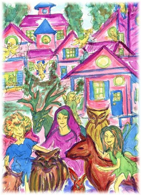 Art: Fairy Town by Artist Karin Elizabeth Weiss