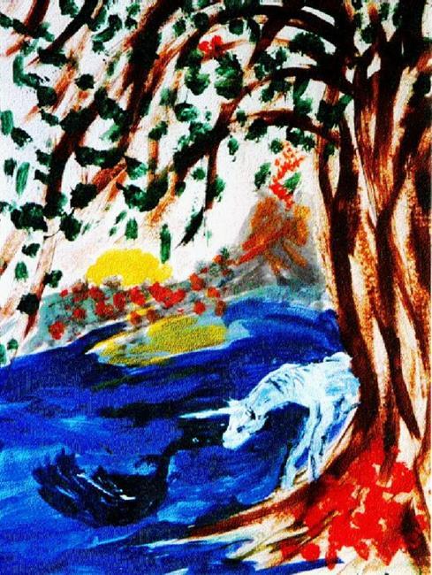 Art: Swan & Unicorn by Artist Karin Elizabeth Weiss