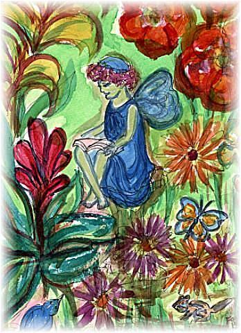 Art: Reading Fairy by Artist Karin Elizabeth Weiss